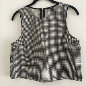 Forever 21 grid black white structured tank Small